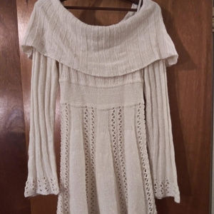 Off-the-shoulder cable knit fit-n-flare dress Sz M